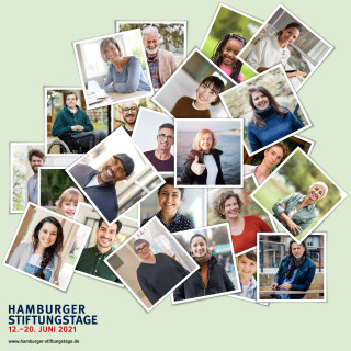 Hamburger Stiftungstage Keyvisual mit grünem Hintergrund